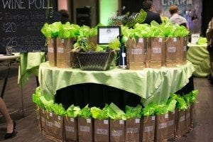 green wine pull display