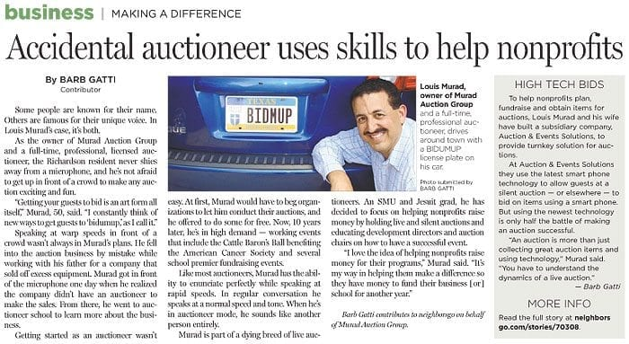 Accidental auctioneer uses skills to help nonprofits